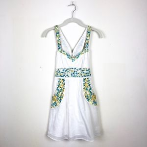 Free People White Embroidered Floral Pocket Dress